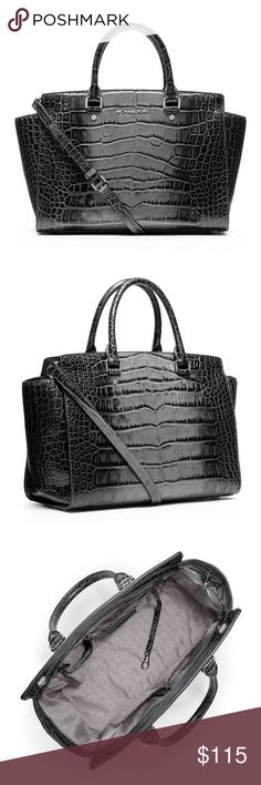 013233d88fa4d3 Michael Kors Croc Embossed Leather Selma w/dustbag Michael Kors Selma Large  Leather Tote Grey