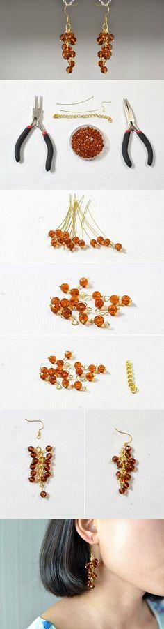 Simple Brown Beaded Dangling Earrings DIY #danglingearrings #beadedearrings #pandahall