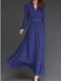 Blue Stand Collar Vintage Chiffon Dress 28.50