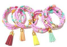 Colorful,Tassle,Bracelet, Pink, Stretchy, Memory Wire, Beaded Coil Wrap, Bracelet Mothers Day, Boho Handmade Custom Beaded Jewelry