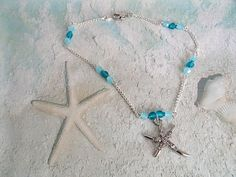 Teal Starfish Ankle Bracelet / Starfish Charm Anklet / Teal Ankle Bracelet by ARexrodeCreations on Etsy