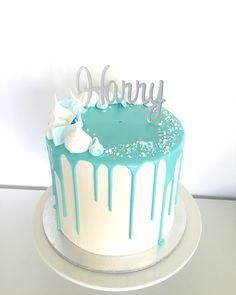 Boys Christening Cake. White Chocolate & Caramel Swirl Mud Cake with White Choc Ganache & Vanilla Swiss Meringue Buttercream #dripcake #drizzlecake #christeningcake