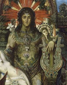Jupiter und Semele, Gustave Moreau oil on canvas, 213 × 118 cm, musée Gustave-Moreau Esoteric Art, Yellow Art, Grand Palais, Cool Paintings, French Artists, Oeuvre D'art, Les Oeuvres, Art History, Painting & Drawing