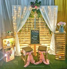 Engagement of Ega and Tiwi . Backyard Wedding Decorations, Rustic Wedding Backdrops, Engagement Decorations, Background Decoration, Backdrop Decorations, Unique Bridal Shower, Welcome To Our Wedding, Wedding Background, Ceremony Backdrop