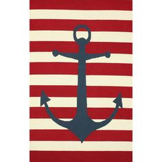nuLOOM Hand-hooked Novelty Stripe Nautical Anchors Red Wool Rug (5' x 8') | Overstock™ Shopping - Great Deals on Nuloom 5x8 - 6x9 Rugs