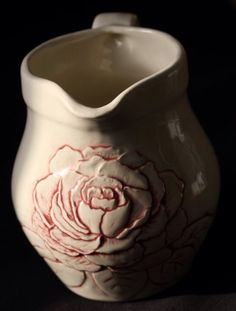 Hand carved Peony jug - done by Sara Nylund Handmade Pottery, Cleaning Wipes, Hand Carved, Carving, How To Make, Crafts, Peony, Behance, Heart