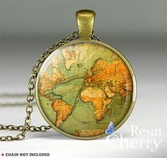 vintage World map necklace pendants