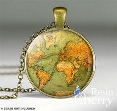 vintage World map necklace pendants