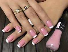 You sure you love your nails,you're always looking for new and unique styles, inspiring photos that you can see below with a brilliant nail art designs which you can use it for your,everyday lifestyle. Pink Nail Polish, Pink Nails, White Polish, Nail Manicure, Toe Nails, Gorgeous Nails, Pretty Nails, Luxury Nails, French Tip Nails