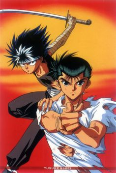 Yu Yu Hakusho Hiei and Yusuke. Such a good picture of them, especially Yusuke. <3