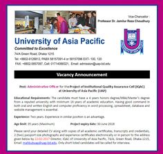 Career – University of Asia Pacific – Administrative Officer University of Asia Pacific is looking for Administrative Officer. Qualification: 4