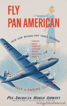 Vintage Aeroplanes Pan American World Airways Travel Ads, Airline Travel, Air Travel, Poster Ads, Advertising Poster, Vintage Advertisements, Vintage Ads, American Airlines, Vintage Airplanes