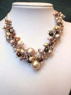 Shades of Brown - Warm Pearl Cluster  Necklace via Etsy