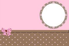 Brown and Pink Polka Dots Free Printable Invitations. Christening Invitations Girl, Birthday Invitations, Free Printable Invitations, Free Printables, Birthday Tarpaulin Design, Dots Free, Candy Bar Labels, Sublimation Mugs, Background Design Vector