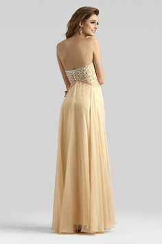 27c7ae7f340 Clarisse 2014 Peach Bellini Nude Champagne Strapless Sweetheart A-Line  Beaded Chiffon Gown 2362