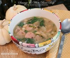Final-x    SAUGAGE AND WHITE BEAN SOUP WITH MUSTARD GREENS
