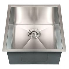 "19"" Executive Zero-Radius Stainless Steel Undermount Sink - Bar and Prep Sinks - Kitchen"
