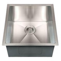 "19"" Executive Zero-Radius Stainless Steel Undermount Sink - Bar and Prep Sinks - Kitchen"