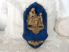 Antique French 1800s religious holy water font w madonna della seggiola sedia and child Jesus, wooden blue velvet devotional wall decor Catholic Gifts, Catholic Art, Religious Art, The Good Catholic, Mother Photos, Water Font, Lady Of Lourdes, Blue Home Decor, John The Baptist