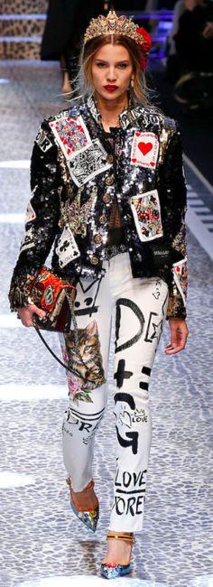 Dolce&Gabbana Outono inverno 2017/18 MFW - Jeans jaquetas bordados
