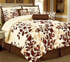 Buy NOW! Bednlinens 7 Piece King Fresca Coffee Leaves Bedding Comforter Set by BEDnLINENS, http://www.amazon.com/dp/B00D5V8WD8/ref=cm_sw_r_pi_dp_0xzisb1K1MJV1