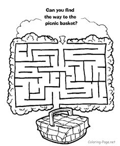 Maze games and Kid channel mazes - Get to the picnic basket