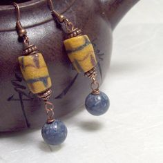 Amara Earrings with handmade African Sandcast Beads and Blue Coral dangle beads