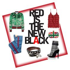 Red is the new black? by maneskin on Polyvore featuring polyvore, Mode, style, Gucci, Off-White, Alexander McQueen, fashion, clothing, black, red and jeans