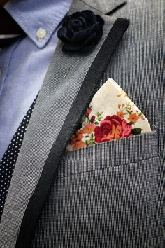 Mens Fashion - Blue blazer with navy trim, blue oxford shirt, polka dot vest, floral pocket square, navy lapel flower
