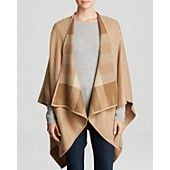 Burberry Charlotte Solid to Check Wool Cape (Color: Midnight Camel Check)