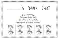 Work Chart - A little motivation for that unmotivated child...trying this with one of mine!
