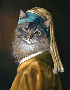 "Carol Lew  Old World Pet Portraits  ""Cat with a Pearl Earring"". S)"