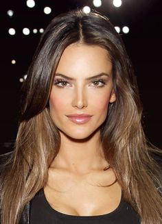 alessandra ambrosio hair metallic brown  | Alessandra Ambrosio Natural beauty, even without makeup. But here she ...
