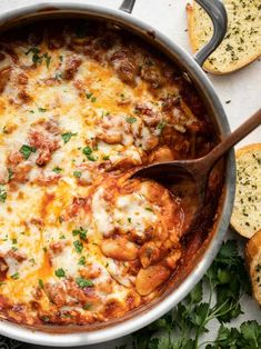 White Beans with Mushrooms and Marinara - Budget Bytes - White beans make a fiber-filled swap for gnocchi in this cheesy, indulgent skillet full of white be - Bean Recipes, Vegetarian Recipes, Soup Recipes, Veggie Recipes, Love Food, A Food, Canned Butter, Stuffed Mushrooms, Stuffed Peppers