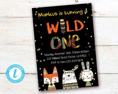 Tribal Wild One First Birthday Invitation Boho Woodland Animals Boy Party Instant Download Printable Template Editable YOU PRINT Bunny And Bear, Black And White Baby, First Birthday Invitations, Woodland Nursery Decor, Baby Deer, Animal Nursery, Wild Ones, Woodland Animals, Printable Wall Art