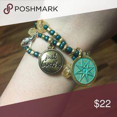Handmade stretchy charm wrap bracelet Brand-new handmade seed bead wrap bracelet with citrine chips and three charms Jewelry Bracelets