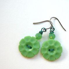 vintage button jewelry | Bright Green Flower Vintage Button Jewelry by buttonsoupjewelry