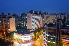 Cheongju, South Korea - June 25, 2017: View of rainy night in Cheongju city