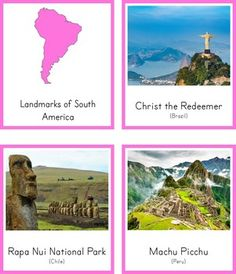 Montessori Inspired Landmarks of South America 3 Part Cards and Fact Cards South America Animals, South America Map, Travel Itinerary Template, America Memes, Travel Route, How To Speak Spanish, Book Activities, Traveling By Yourself, Inspired