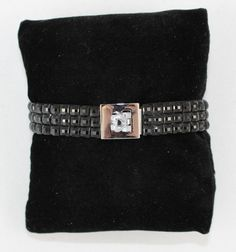 Black Crystal Like Bracelet With Silver Finished Clasp