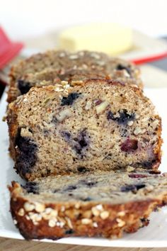 Blueberry Banana Oatmeal Bread. Sub brown sugar for honey, added 1/2 cup walnuts, 1/2 cup of cranberries, 1/2 cup white chips