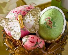 Easter eggs decorated with Mod Podge and paper napkins from Ikea.
