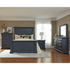 Classic Slate Blue 6 Piece Queen Bedroom Set   Everly