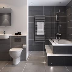 Modern grey bathroom grey bathroom ideas best dark grey bathrooms ideas on grey modern grey bathroom small bathroom ideas modern bathroom design grey and Grey Bathrooms Designs, Small Grey Bathrooms, Small Bathroom Tiles, Gray And White Bathroom, Gray Bathroom Decor, Bathroom Red, Modern Bathroom Design, Bathroom Ideas, Contemporary Bathrooms