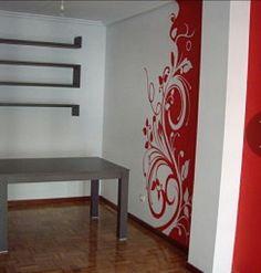 Mural floral rojo y blanco