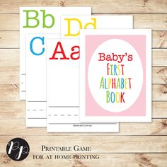 Alphabet Book Baby Shower Game with Pink Cover, build a library, ABC shower game // Baby's First Alphabet Book // Hewitt Avenue