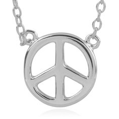 Flaunt high fashion with this necklace from Journee Collection. This necklace is constructed of premium sterling silver and features a peace sign pendant. The cable chain with a one-inch extension and a high polish finish completes this look.