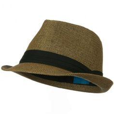 Solid Band Summer Straw Fedora - Brown Black Chapéus Masculino b77257f8f3b