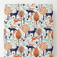 Navy and Orange Woodland Animals Toddler Bed Sheet Fitted