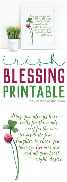 This Irish Blessing Printable is perfect for St. Patrick's Day or any other time of the year when you need a reminder of the blessings in your life. St Pattys, St Patricks Day, St Paddys Day, St Patrick's Day Decorations, Luck Of The Irish, How To Make Wreaths, St Patrick Quotes, Irish Celebration, Santos